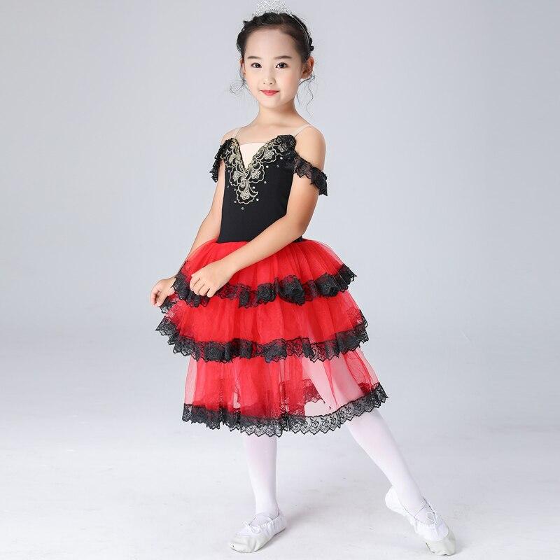Quijote vestidos de Ballet para chicas español Tutu niños clásica falda de Ballet para bailar para niñas Negro Tutu Ballet vestido de encaje falda
