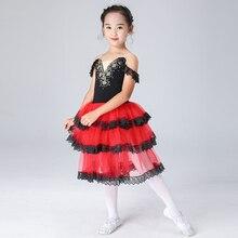 Quichotte robe de Ballet filles Spainish Tutu enfants danse classique Ballet jupe pour filles noir Tutu corsage Balet robe dentelle jupe