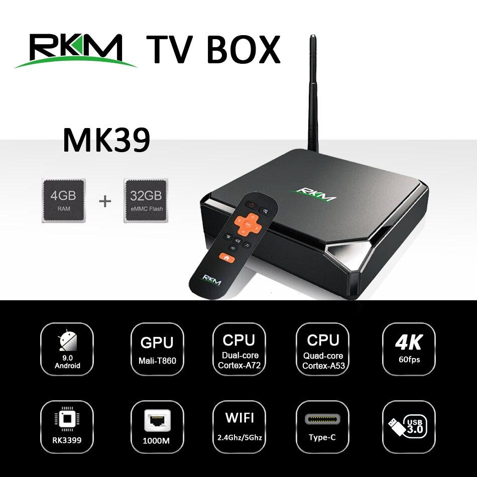 تي في بوكس أندرويد 9.0 RKM MK39 Rockchip RK3399 4GB 32GB 802.11AC 2.4G 5G 1000M LAN USB3.0 Type-c لافتات رقمية لاعب