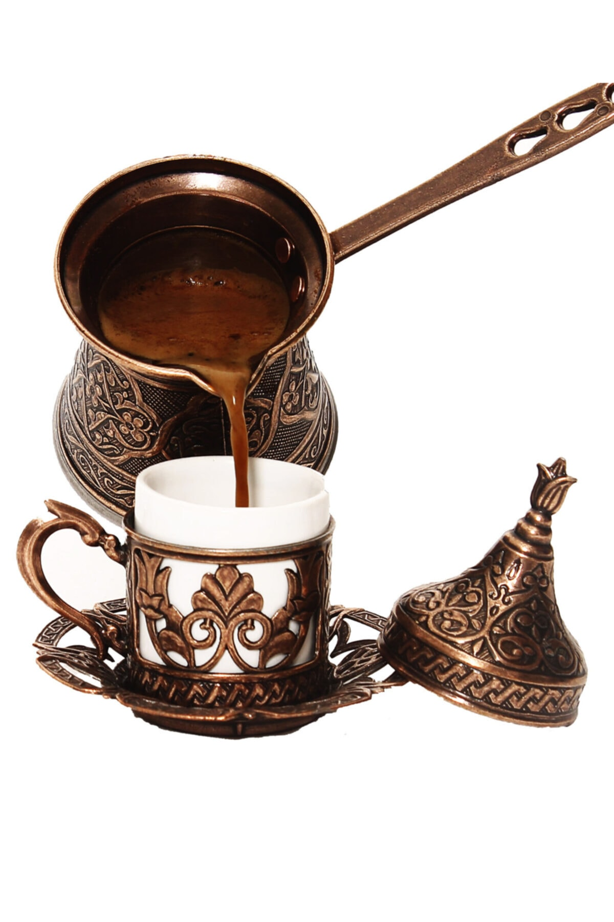 Patterned Copper Casting Coffee Pot 4 Personality-Magnet Bushes Compatible Turkish Ottoman Coffee Pattern Coffee Pot недорого