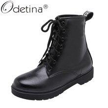 Botas Odetina a la moda para mujer con cordones a media pantorrilla botas de invierno Vintage con plataforma plana de combate botas de otoño cómodas con punta redonda Martin