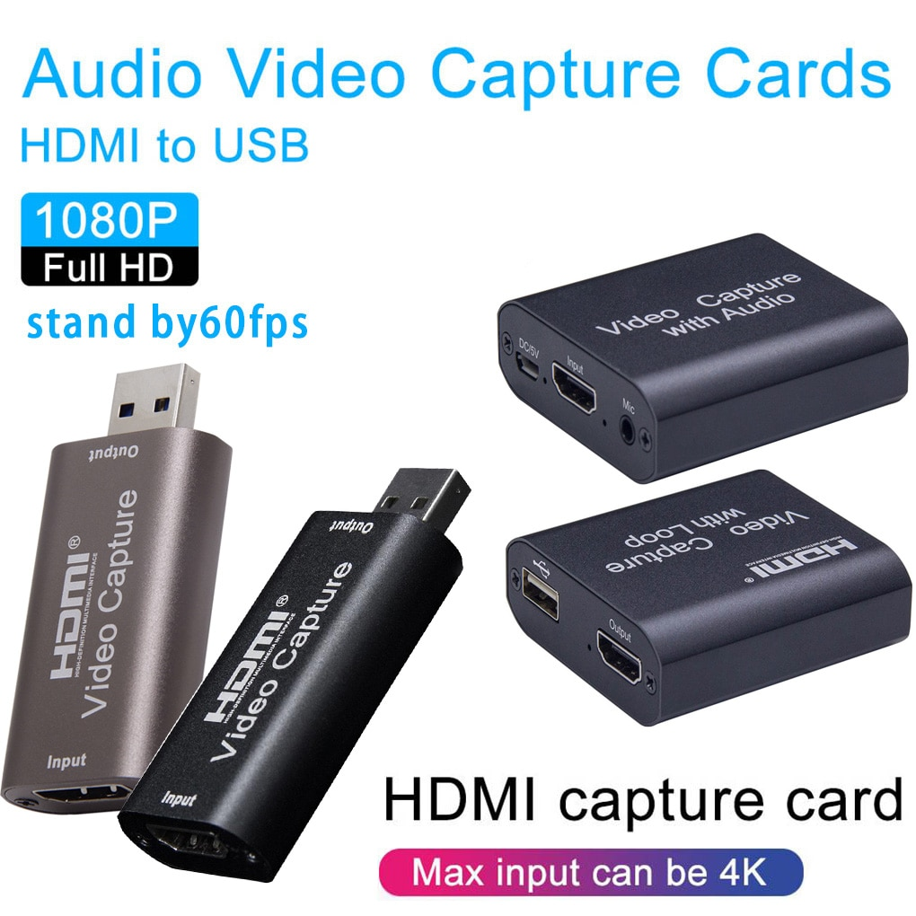 Mini Capture Card Portable Audio Video Recording Plate Live Streaming USB 2.0 3.0 1080P Grabber for PS4 Game DVD Camera