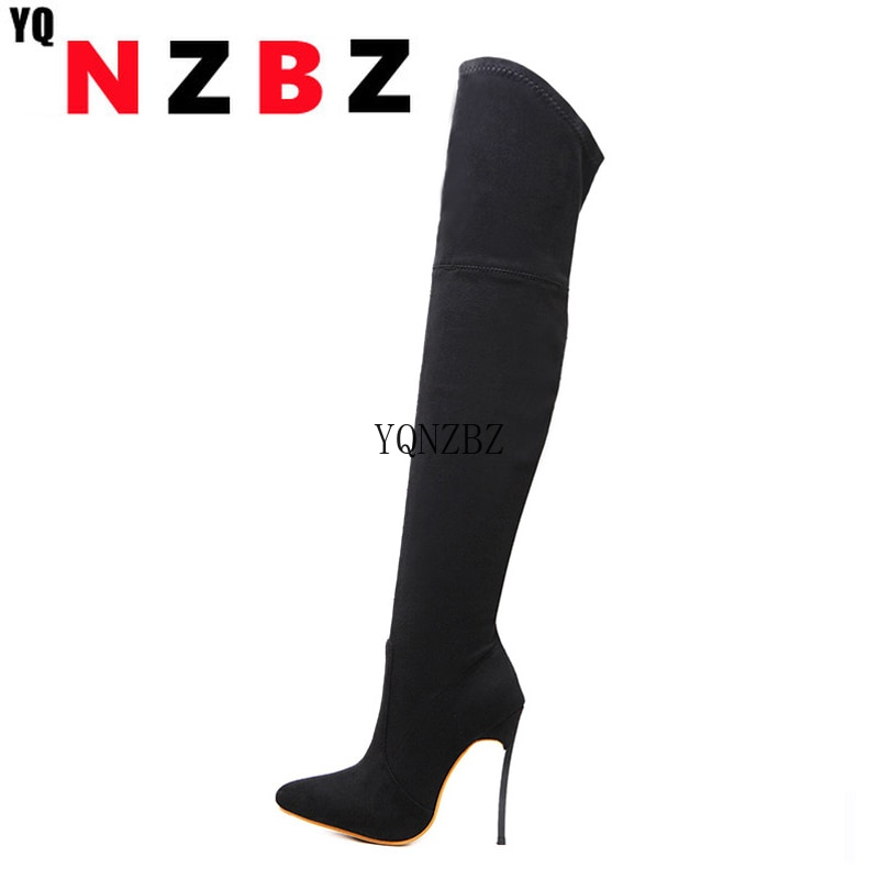 YQNZBZ Sexy Over the Knee high Boots Woman Flock Thick high heels thigh high Women Boots Winter Blac
