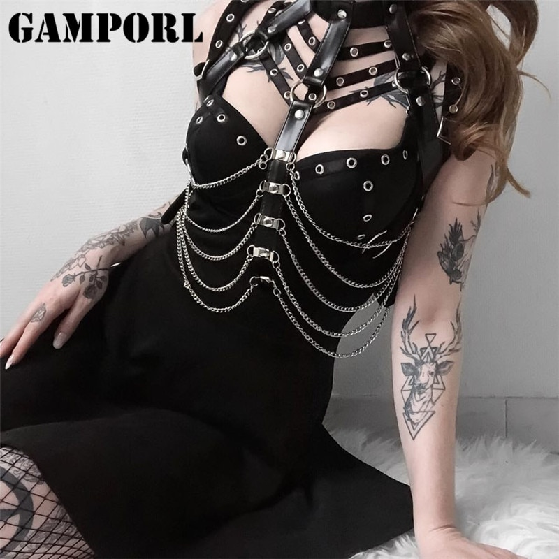 GAMPORL Sexy Women Leather Harness Erotic Suspender Lingerie Thigh Garters Belt Bondage Straps Harne