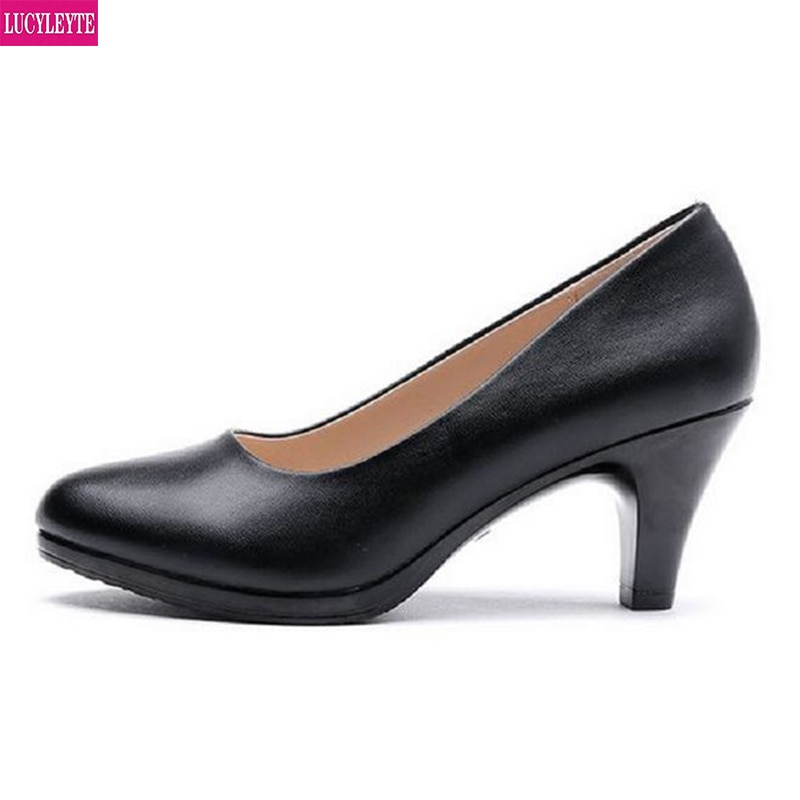 Spring and Autumn High Heels Black Shoes Work Shoes Etiquette Students Are Wearing Rough Heel Interv