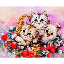 Panier rond en mosaïque avec strass de décor   Bricolage 5D peinture diamant, dessin en forme danimal de chats, broderie au point de croix