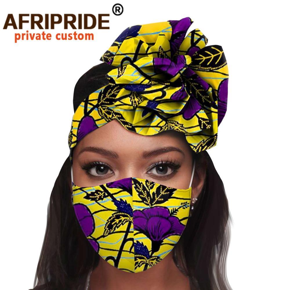 الأفريقية 2 قطعة للنساء عقال أغطية الرأس الأزهار عمامة وشاح الرأس رئيس السيدات التفاف إكسسوارات الشعر مباراة طباعة قناع A20H015