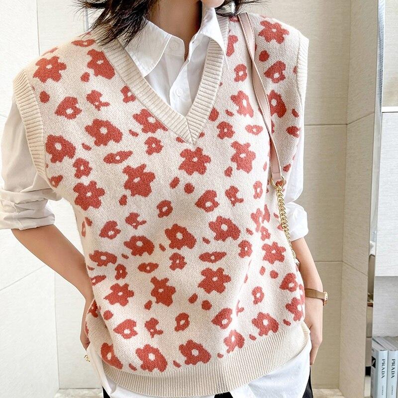 Women Vest 100% Merino Wool Knitted Sleeveless Flower Hot Sale Spring New Fashion Ladies Knitwear Standard Clothes enlarge