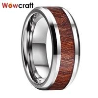 tungsten carbide ring for men women koa wood inlay polish shiny wedding bands rings comfort fit beveled edges