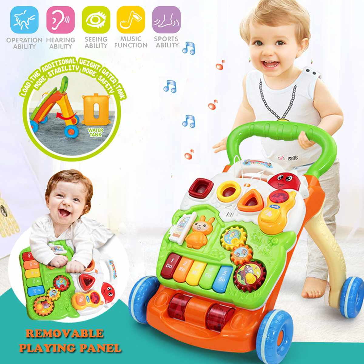 Baby Multi-Functional Toddler Kids Baby Walker Trolley Car With Wheels Training Learning Toy Musical Activity Trolley