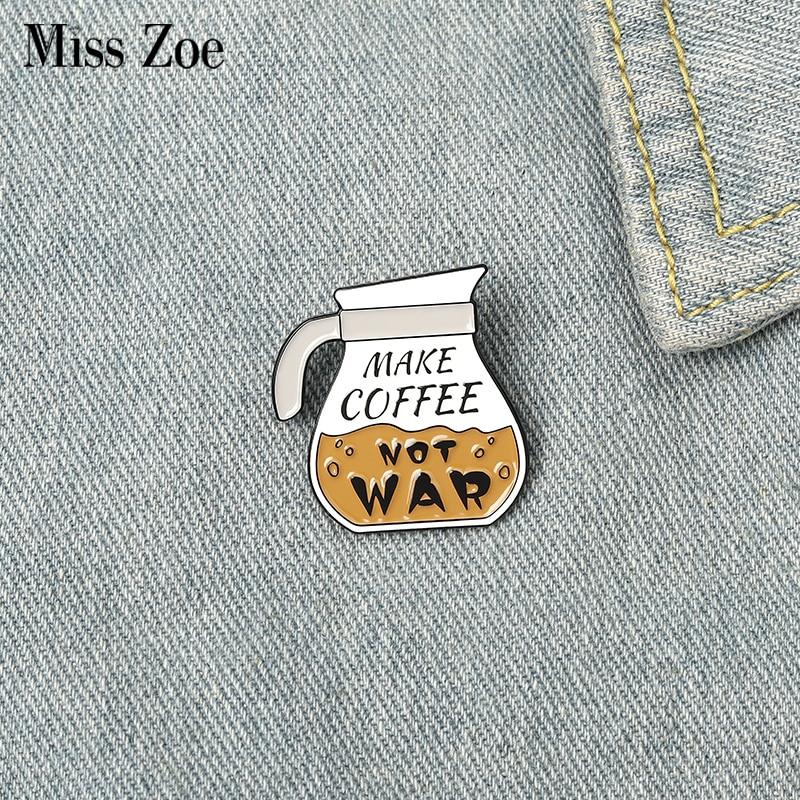 Эмалированные булавки для кофейника, изготовление на заказ, кофейные броши для сумки, одежды, значок на лацкан, значок кафе, мультяшная бижу...