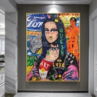 abstract street graffiti art funny mona lisa canvas painting on the wall pictures posters and prints for living room decoration