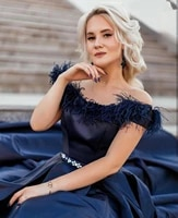 evening dress off shoulder floor length feathers a line 2020 nave blue special occasion party gowns christmas formal charming