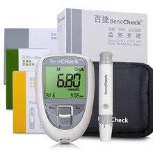 3 en 1 multi-fonction acide urique diabète cholestérol testeur système de mesure de glycémie bandelettes de test de glycémie sans Lancets