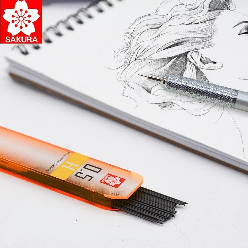 1 tubo Japón Sakura lápiz mecánico núcleo de plomo/0,3/0,5/0,7/0,9mm de recambios de alta capacidad No es fácil de romper 2H/2B/HB/B