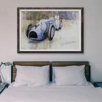 Peinture classique de voiture de course retro bleue T158  34  affiche en soie personnalisee  decoration murale  cadeau de noel
