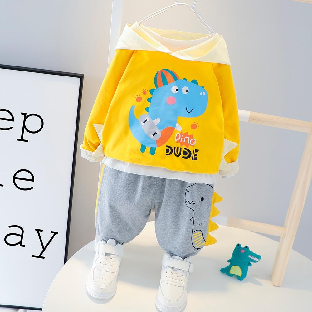 Niños niño niña ropa algodón sudaderas pantalones 2 unids/set bebé chándal niños ocio dinosaurios traje conjunto de ropa infantil
