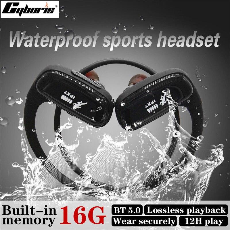 Cyboris-Bluetoothワイヤレスヘッドセット,ランニング,スポーツ,防水,16GB mp3プレーヤー,12時間,iPhone,Vivo,Xiaomi,Huawei用