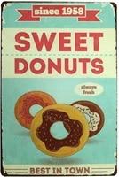 Meilleur Donuts en ville  signe en metal  Plaque daffiche dart Vintage  decoration murale de cuisine et de maison