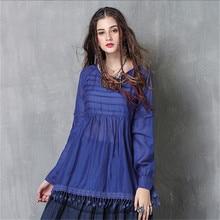Women Tassel Slik Blouse Shirlt 2020 Vintage Womens Blouse Shirts Cotton Pullover Blouses Dark Blue Top High quality