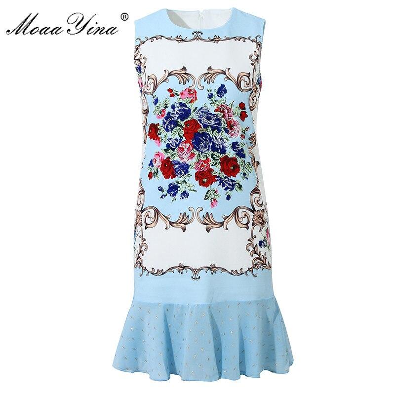 MoaaYina Fashion Designer dress Summer Women Dress Beaded Floral-Print Package buttocks Dresses