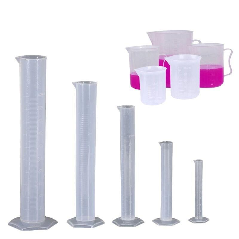 5 cilindros plásticos 10ml 25ml 50ml 100ml 250ml e 2 copos plásticos 50ml 100ml com 3 copos de medição plásticos 250ml 500ml 1000ml