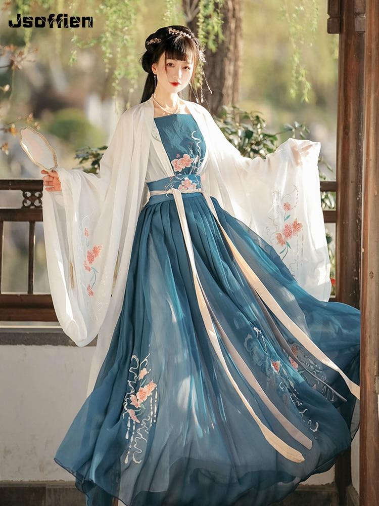 Women Chinese Traditional Hanfu Costume Lady Vestidos Han Dynasty Dress Embroidery Tang Dynasty Princess Folk Dance Clothing фото