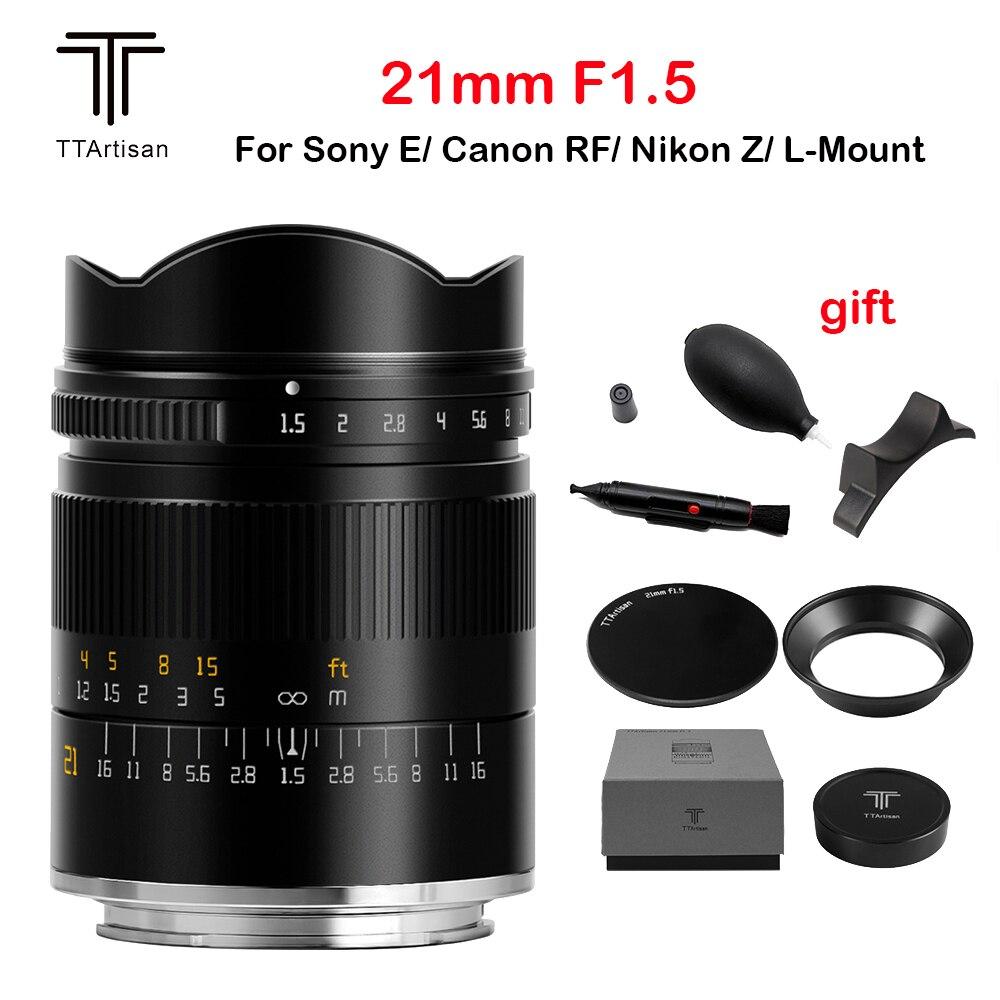 TTArtisan 21 مللي متر F1.5 عدسة الكاميرا كامل الشهرة دليل التركيز عدسة لسوني E كانون RF نيكون Z سيغما Lumix Leica L M جبل كاميرات