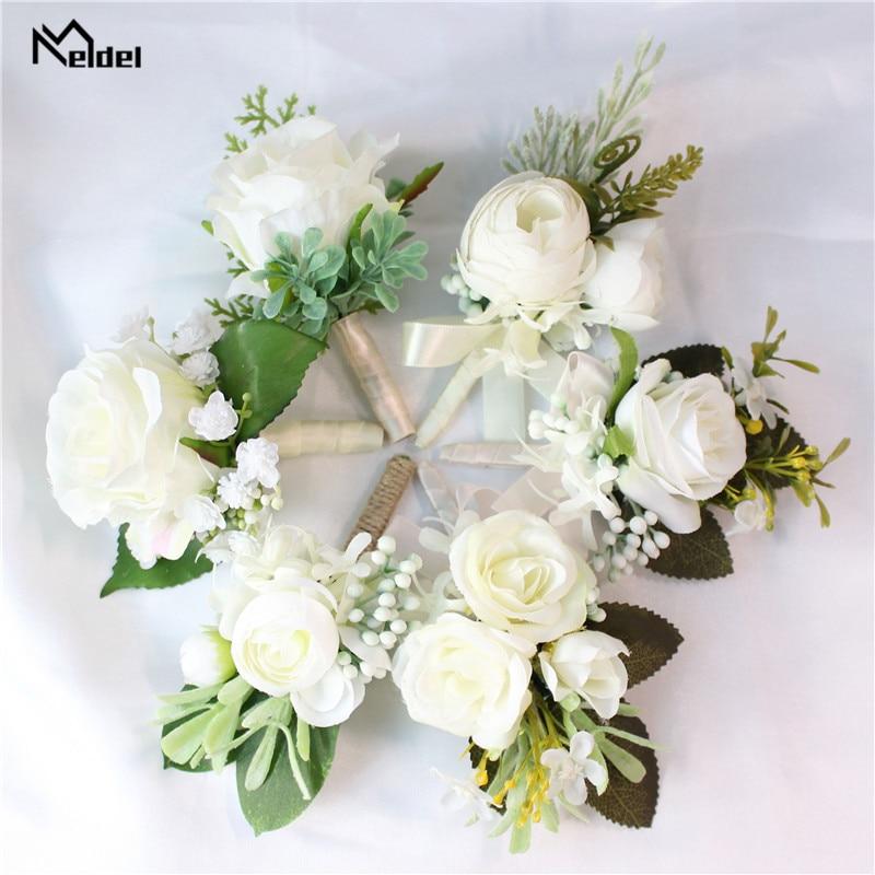 Meldel boda flor de botonier Rosa Blanco corpiño de muñeca novia pulsera novio flor en el ojal de la boda testigo accesorios matrimoniales