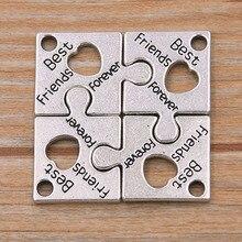 8 pièces 16*22mm Photo couleur lettre creuse Puzzle breloques pendentifs carrés décoration à la main Vintage pour bijoux à bricoler soi-même faire des résultats
