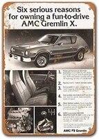 1978 amc gremlin x tin metal signs vintage cars sisoso plaques poster pub garage retro wall decor 8x12 inch
