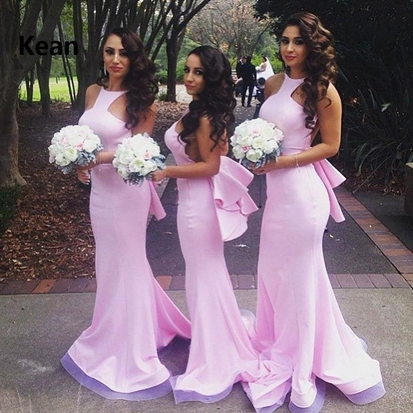 فستان إشبينة العروس أرجواني رخيص 2019 ، ساتان ، ياقة رسن ، حورية البحر ، ربطة عنق ، أقل من 50 فستان زفاف طويل