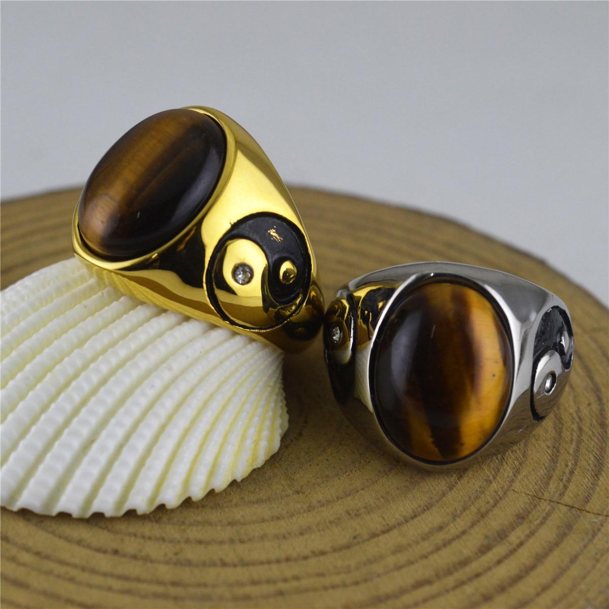 Nuevos anillos de compromiso para hombres Ojo de Tigre Piedra Natural Yin Yang Tai Chi 316L anillo de acero inoxidable joyería Vintage Envío Directo