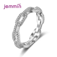 real 925 sterling silver geometric twist chain ring for women gift fashion minimalist clear cz ring fine jewelry accessories