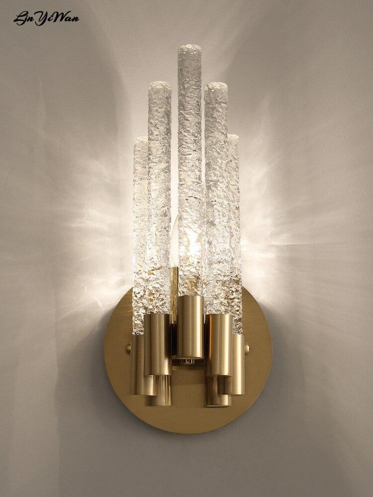 أباجورة الجدار الكريستال مصباح الشمال الحديثة الحد الأدنى الممر الممر الدرج مصباح مصباح جدار فندقي مصباح لغرفة المعيشة