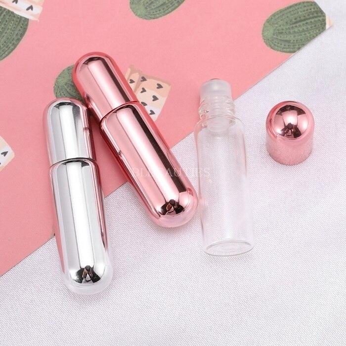 5ml Mini rollo de aceite esencial vacío en botellas botella de Perfume UV Rosa plata aceite para masaje frascos de muestra de aromaterapia