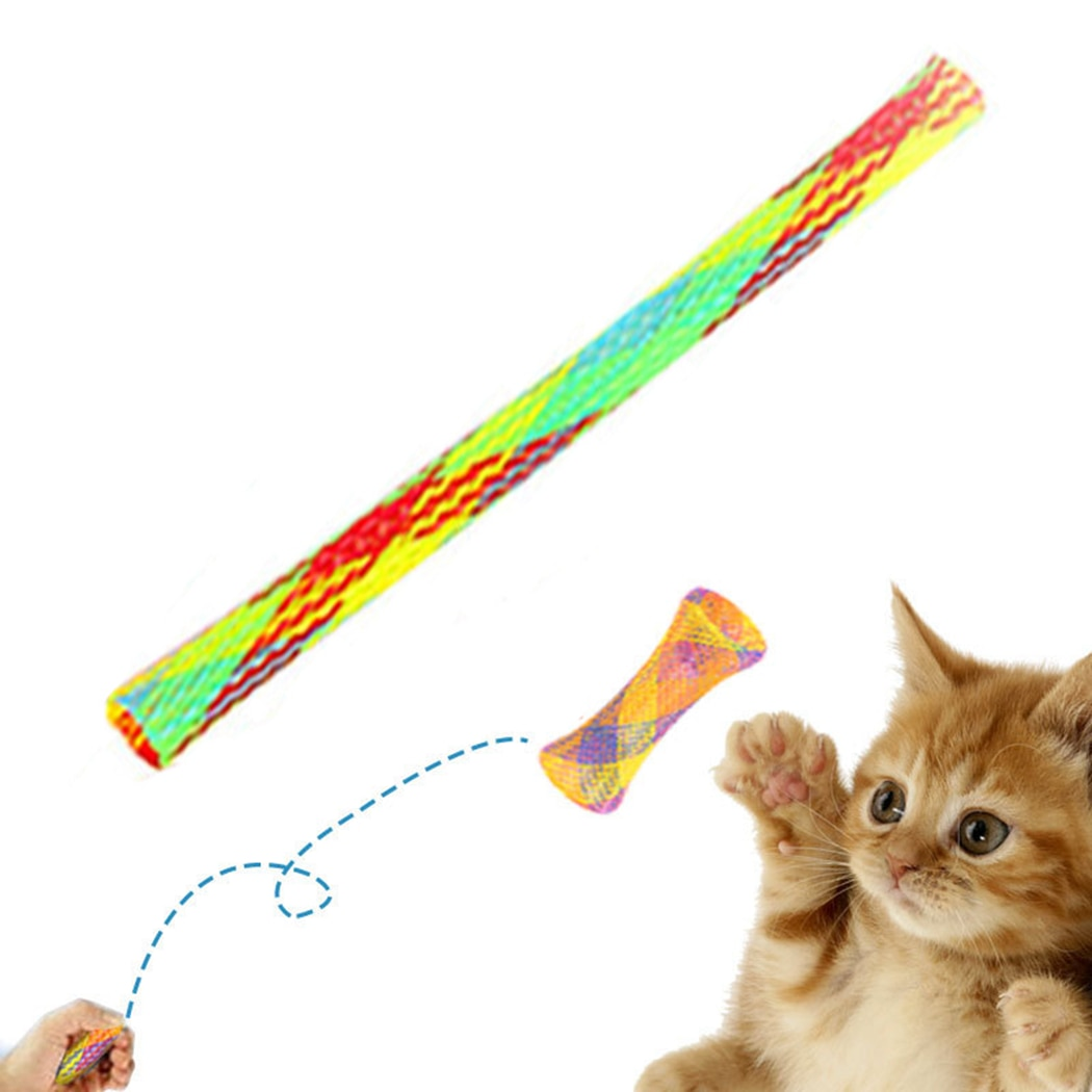 1/10 Pcs Long Spring Cat Toy Pet Flexible Retractable Tube Interactive Teaser