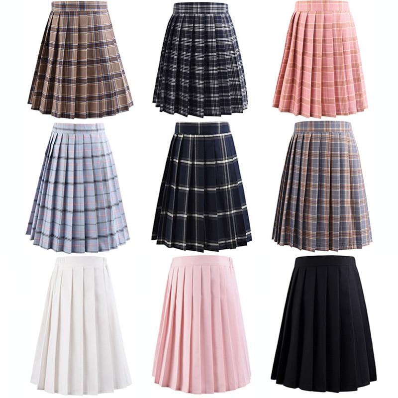 تنانير هاراجوكو سوداء عالية الخصر للنساء ، زي مدرسي كاواي ، تنورة صغيرة مربعة باللونين الأبيض والوردي ، صيف 2020