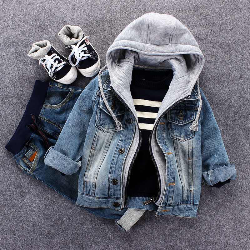 Fake Two Piece Kids Denim Jacket Toddler Hoodies Boys Jean Coat Clothes Casual Boys Cardigan Children's Outdoor Cowboy Clothing