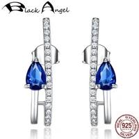 genuine 925 sterling silver sapphire drop earrings for women blue gemstone dangle earrings wedding fine jewelry party gift