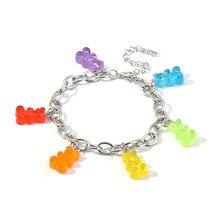 Mignon ours gommeux Bracelet pour femmes argent breloque bébé Bracelet bohême Boho bijoux accessoires cadeaux Pulceras et brésiliens Mujer