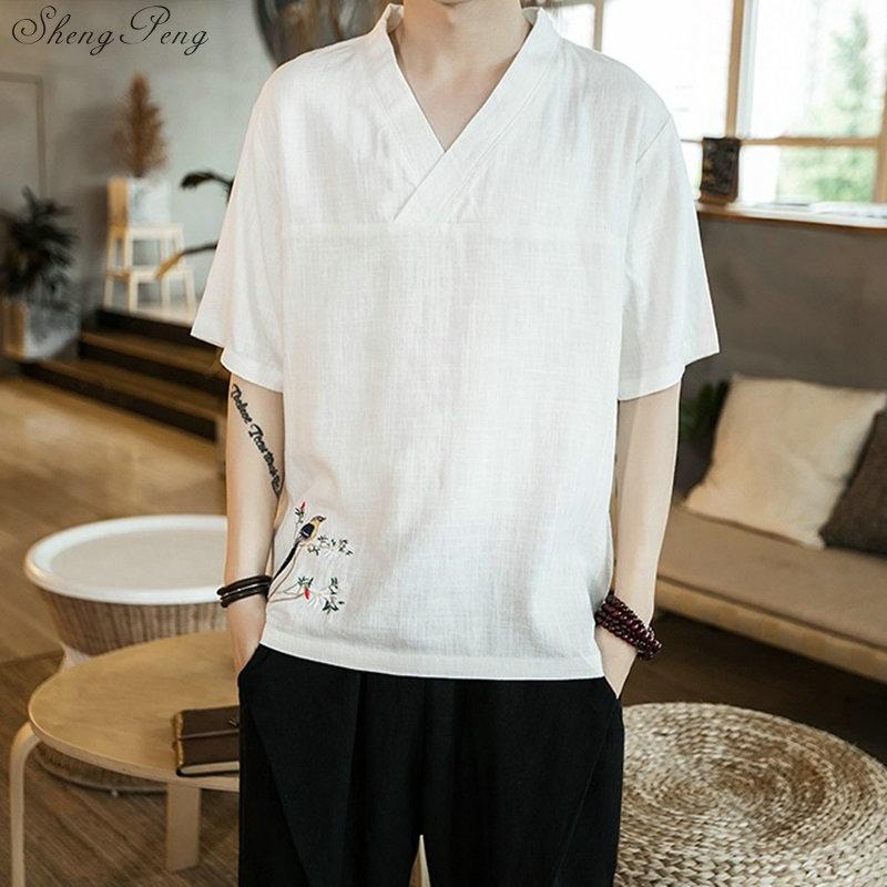 Hombres ropa tradicional china Tops traje Tang Hanfu camisa estilo chino Top ropa blusa Kung Fu uniforme de Tai Chi V1842