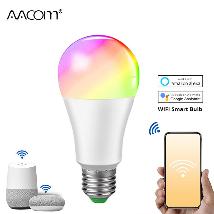 Ampoule LED E27 WiFi Light Bulb 15W RGBW Bluetooth Smart Lamp Intelligent WiFi Lamp Work with Google Home Assistant Echo Alexa