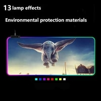 dumbo led light gaming mouse pad rgb keyboard cover non slip rubber base computer carpet desk mat pc game mouse pad small mouse