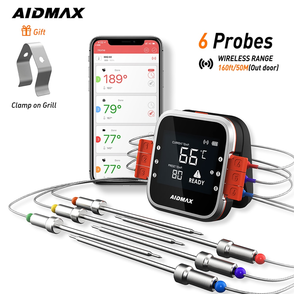 AidMax WR01 Digital Wireless BBQ Meat Thermometer Grill Oven Thermomet With Stainless Steel Probe Cooking Kitchen Thermometer