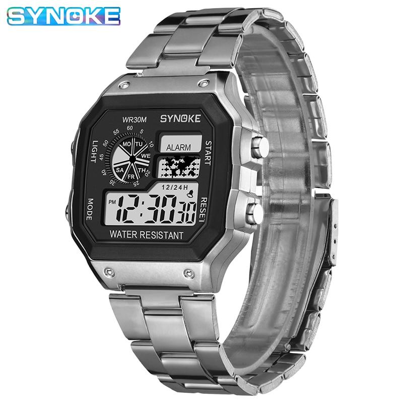 AliExpress - Mens Watches SYNOKE Top Brand Luxury Sliver Gold Men Watch Digital Led Leisure Watch Plastic Waterproof Life Relogio Masculino