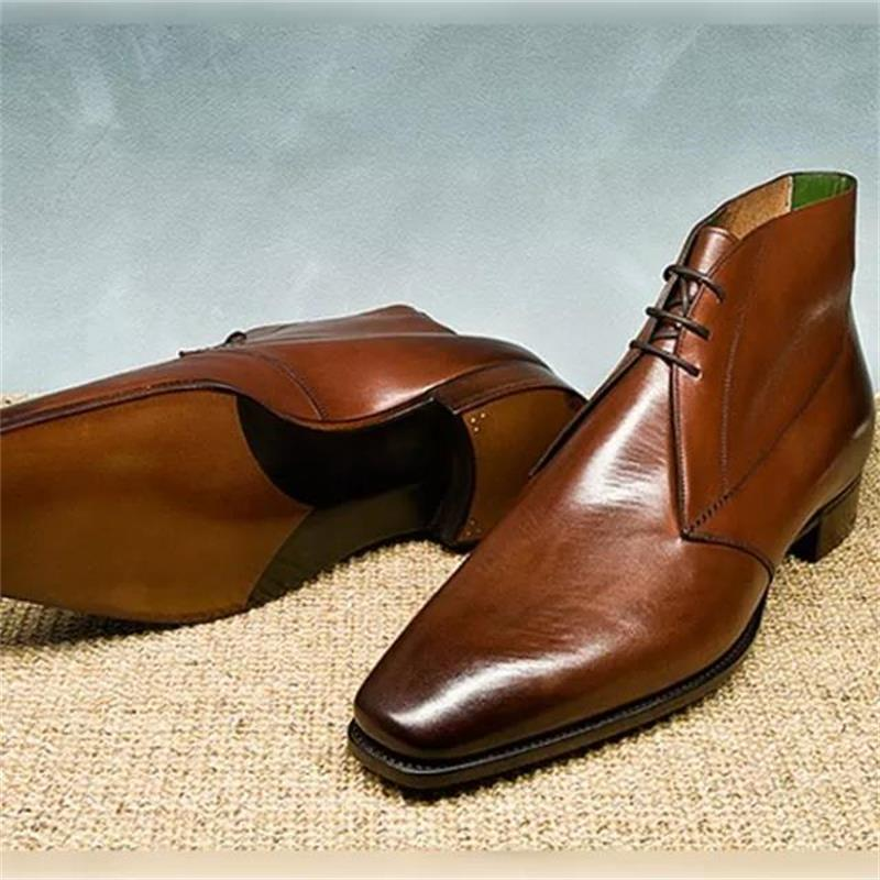 British Men's High-top Leather Shoes Pointed Toe Brock Martin Boots Increase Men's Boots Hair Stylis