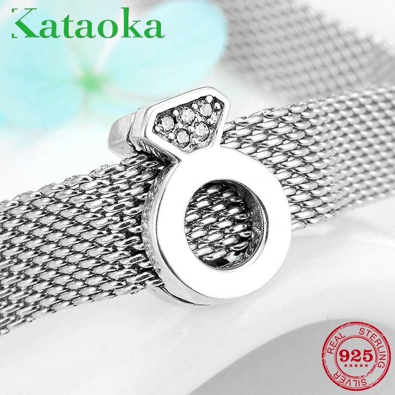 Auténtico 925 Sterling romántico de plata amor forma de anillo Clips CZ Beads fit Original reflexiones pulseras del encanto para la joyería de las mujeres