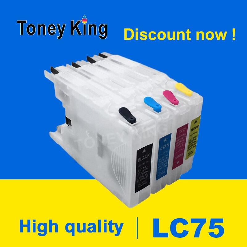 Toney rey LC75 XL cartuchos de tinta de la impresora hermano LC 12 40 71 73 75 400 de 1220 de 1240 para MFC-J6910CDW J6710CDW J5910CDW impresora