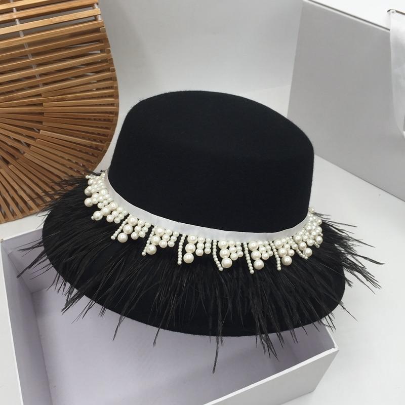 قبعة على الطراز الياباني بشرابة من اللؤلؤ ، قبعة صياد ، أنيقة أرستقراطية ، إصدار هان ، عصرية